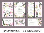 floral wedding invitation with... | Shutterstock .eps vector #1143078599