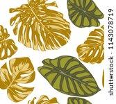 seamless hand drawn botanical... | Shutterstock .eps vector #1143078719