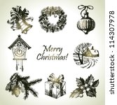 hand drawn christmas set | Shutterstock .eps vector #114307978