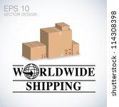 worldwide shipping  cardboard...   Shutterstock .eps vector #114308398