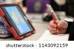 high school student using... | Shutterstock . vector #1143092159