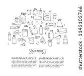 hand drawn doodle stop plastic... | Shutterstock .eps vector #1143103766