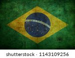 grunge brazil flag background | Shutterstock . vector #1143109256