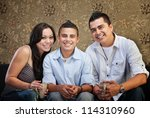 joyful native american family... | Shutterstock . vector #114310960
