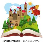 fairy tail open book... | Shutterstock .eps vector #1143110993