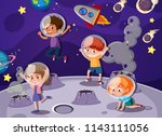 children playing in space... | Shutterstock .eps vector #1143111056