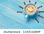 coffee cup with smiley face on... | Shutterstock . vector #1143116849