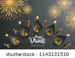 happy diwali. background with... | Shutterstock .eps vector #1143131510