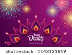 happy diwali. background with... | Shutterstock .eps vector #1143131819