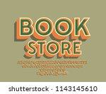 vector retro logo book store.... | Shutterstock .eps vector #1143145610