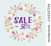 sale minus 50 text. vector... | Shutterstock .eps vector #1143147236