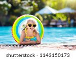 child with goggles in swimming...   Shutterstock . vector #1143150173