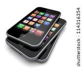 smartphones with touchscreen...   Shutterstock . vector #114316354