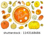 set of autumn elements isolated ... | Shutterstock .eps vector #1143168686