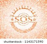 sos abstract orange mosaic... | Shutterstock .eps vector #1143171590