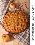apple pie with apple and... | Shutterstock . vector #114317344