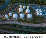 gas storage terminal in the sea ... | Shutterstock . vector #1143173969