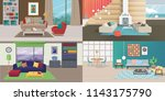 set of interiors with furniture.... | Shutterstock .eps vector #1143175790