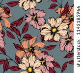elegance pattern with flowers... | Shutterstock .eps vector #1143185966