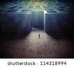 tiny man entering a mysterious... | Shutterstock . vector #114318994