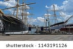 sailboats and boats in seaport... | Shutterstock . vector #1143191126