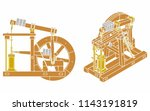 wood beam engine without... | Shutterstock .eps vector #1143191819