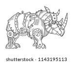 mechanical rhinoceros animal... | Shutterstock .eps vector #1143195113