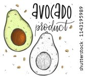 vector vegetables avocado in a... | Shutterstock .eps vector #1143195989