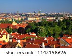 prague cityscape with red roofs ... | Shutterstock . vector #1143198626