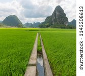 guilin rice mountain range | Shutterstock . vector #1143208613