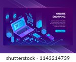 vector 3d isometric template of ... | Shutterstock .eps vector #1143214739