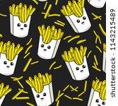 cute kids french fries pattern... | Shutterstock .eps vector #1143215489
