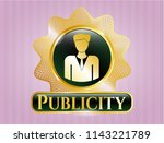 gold emblem with businessman... | Shutterstock .eps vector #1143221789