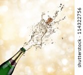 close up of champagne explosion | Shutterstock . vector #114322756