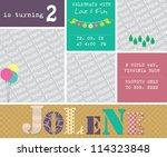 kid invitation card design.... | Shutterstock .eps vector #114323848