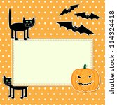halloween card with funny black ... | Shutterstock .eps vector #114324418