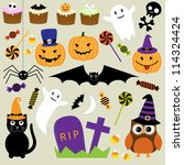 vector set of halloween elements | Shutterstock .eps vector #114324424