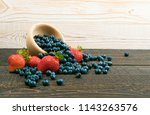 fresh beautiful strawberries... | Shutterstock . vector #1143263576