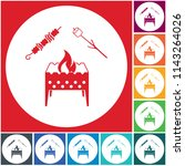 brazier  zephyr and kebab icon. ... | Shutterstock .eps vector #1143264026