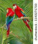 bright digital art parrots in... | Shutterstock . vector #1143271733