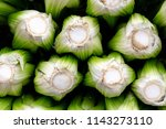 a stack of fresh celery heads ... | Shutterstock . vector #1143273110