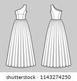 floor length one shoulder dress ...   Shutterstock .eps vector #1143274250