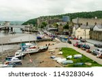 conwy quayside and conwy castle ...   Shutterstock . vector #1143283046