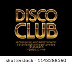 vector golden emblem disco club.... | Shutterstock .eps vector #1143288560