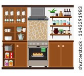 kitchen with spacious cabinets  ... | Shutterstock .eps vector #1143291983