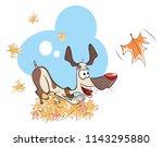illustration funny dog playing ...   Shutterstock . vector #1143295880