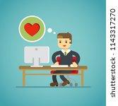 online dating love man working... | Shutterstock .eps vector #1143317270
