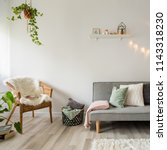 gray sofa  coffee table and...   Shutterstock . vector #1143318230