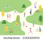 people character in the park... | Shutterstock .eps vector #1143320543