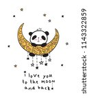 greeting card with cute panda... | Shutterstock . vector #1143322859
